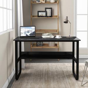 Schreibtisch einfache Montage förmiger Computertisch Bürotisch platzsparend Industrie-Design vintage-schwarz LWD73X