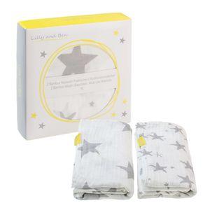 2er Set Pucktücher - extra weich , Farbe:Grey Stars, Größe:120 x 120 cm
