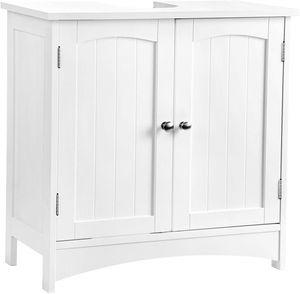 VASAGLE Waschbeckenunterschrank, 60 x 30 x 60 cm, verstellbare Ablage, Badezimmerschrank mit 2 Türen, Unterschrank, viel Stauraum, freistehend, Landhausstil, weiß BBC01WT