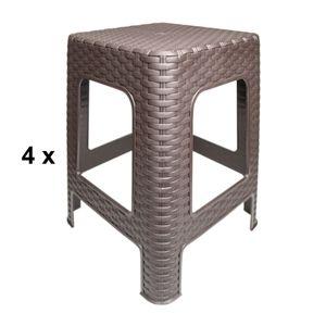 4x Hocker Rattan Badhocker Sitzhocker Stapelbar Kunststoff Campinghocker Braun