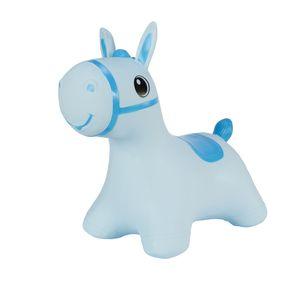 Hoppimals Höpftier blau Pferd mit Pumpe Hüpfpferd aufblasbares Hüpfspielzeug aus Gummi