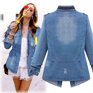 Plus Size Casual Damen Damen Denim Oversize Jeans Kette Jacke Tasche Mantel Größe:XXXL,Farbe:Blau