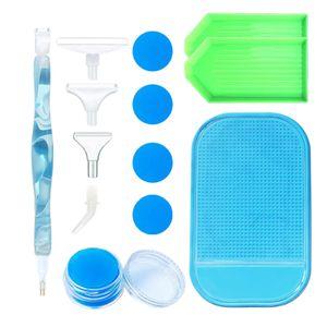 5D Handgedrehtes Harz Diamond Painting Pen Zubehör Werkzeugsätze Box Set Farbe Hellblau