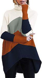 Rollkragenpullover mit langen Fledermausärmeln für Frauen mit asymmetrischem Saum, lässiger Pullover mit Strickpullover