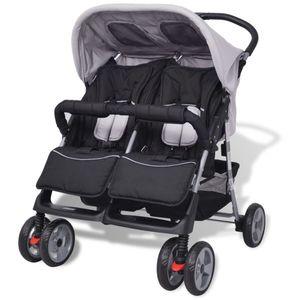 anlund Baby Zwillingswagen Stahl Grau und Schwarz