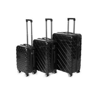 Zellerfeld 3er Set  Hartschalenkofferset Trolley Koffer Reisekoffer mit 4 Rollen Kombinationsschloss Schwarz