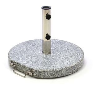 VCM Sonnenschirmständer rollbar 20kg Granit grau rund Ø 40cm Edelstahlhülse Naturstein