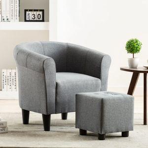 Moderne - Chesterfield-Sessel Sofa Stuhl Hellgrau Stoff