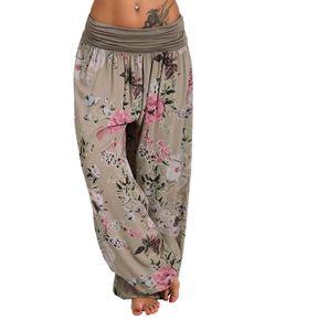 Frauen Lässige Hose mit Blumendruck Breite Hosen mit weitem Bein Lose Tasche Haremshose Größe:XXXL,Farbe:Grau