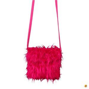 Plüschtasche pink, Hippie Felltasche