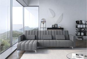 Home Innovation - Sofa chaise Longue Milano von 267cm, umbaubar in ein Bett, wendbar, hellgrau mit Streifen.