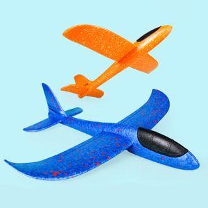 2 Stück 48cm  Kinder Segelflugzeug, Werfen Fliegen Modell, Styroporflieger Flugzeug Spielzeug Outdoor-Sportarten Spielzeug, Flugzeug -Orange+ Blau