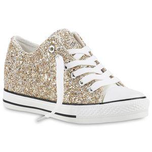 Mytrendshoe Damen Sneakers Keilabsatz Sneaker-Wedges Glitzer Metallic Schuhe 816721, Farbe: Gold, Größe: 39