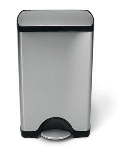 simplehuman 38 Liter rechteckiger Treteimer, fingerabdrucksicherer Edelstahl - 8,4x8,4x43,4 cm; CW1814