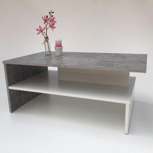 Möbel SD Couchtisch SW- Beton - Weiß