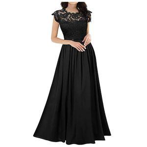 Chiffon Kleid Chiffon Nähte Spitze Kleid Brautjungfern Abendkleider Frauen Größe:XXL,Farbe:Schwarz