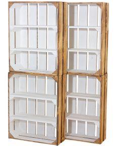 7x Tolles skandinavisches Regal, außen geflammt & innen weiß, aus Holz, ideal als Küchenregal / Flurregal / Sideboard, neu, 40,5x16x50cm