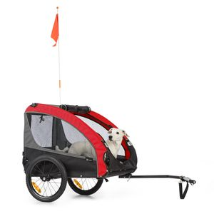 Klarfit Husky Race Fahrrad-Hundeanhänger,ca. 282 L Volumen,Material: 600D Oxford Canvas mit wasserdichter PVC-Beschichtung,SmartSpace Concept: faltbar,maximale Belastbarkeit: 40 kg - Rot