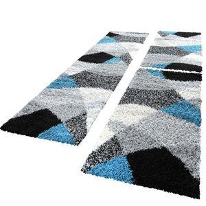 Bettumrandung Läufer Hochflor Shaggy Teppich Weich Türkis Grau Läuferset 3 Tlg, Grösse:2mal 70x140 1mal 70x250 cm