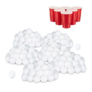 relaxdays 288x Beer Pong Bälle, Plastikbälle, Tischtennisbälle, Wurfbälle, Ping Pong Bälle
