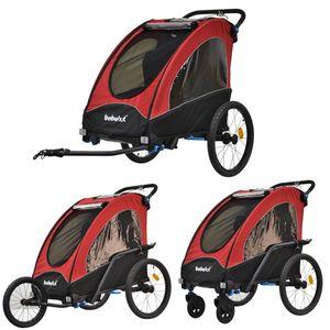 Kinderfahrradanhänger Aluminium Fahrradanhänger Jogger 2in1 Anhänger Kinderanhänger 333-01 ROT