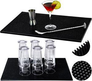 Geschirrtrocknungsmatten Abtropfmatte Trocken-matte für Geschirr 45x30x1cm Schwarz 8637