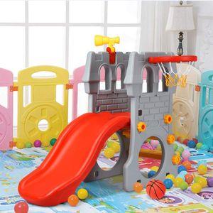 COSTWAY 4 in 1 Kinder Spielzeug mit Teleskopspielzeug, Kletterleiter & Rutsche & Basketballkorb & Fußballtor, Schloss Rutsche, Spielrutsche, Kinderrutsche für 3-8 Jahre