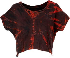 Batik Hippie T-Shirt - Rostrot/dunkelbraun, Damen, Viskose,Elasthan, Tops & T-Shirts