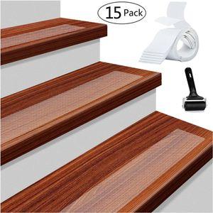 15 stück (10x60cm) Rutschfest Stufenmatten Antirutschstreifen Treppe Set Transparent Rutsch Streifen, Anti Rutsch Selbstklebende Stufenmatten mit Walze zum Einbau