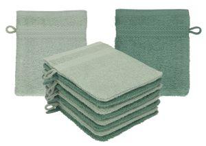 Betz 10 Stück Waschhandschuhe PREMIUM 100% Baumwolle Waschlappen Set 16x21 cm Farbe heugrün - tannengrün