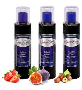 Crema Trio Erdbeeer / Feige / Haselnuss 3 x 0,26 L 3% Säure dickflüssig & konzentriert Balsam Essig Creme Balsamico Fruchtbalsamico