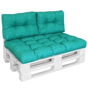 DILUMA Outdoor Palettenkissen Tino Lounge Set in Türkis - Sitzkissen 120 x 80 x 18 cm + 2 Rückenkissen 60 x 40 x 10-20 cm - Lounge Palettensofa Indoor / Outdoor schmutz- und wasserabweisende Palettenauflage