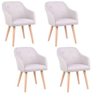 Stühle Esszimmerstühle Armlehnstuhl Polsterstuhl Stoff Sessel mit Armlehne Echtholz Stuhlbeine in 2er, 4er, 6er, 8er Set, in verschiedenen Farben Kingpower , Auswahl:4 Sessel - hellgrau