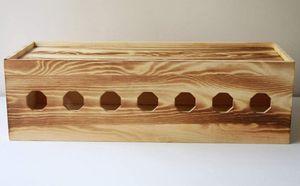 Handgemacht Kabelbox aus Massivholz Schreibtisch Aufbewahrungsbox für Kabel Verwalten und Organisieren Karbonisiertes Holz XXL