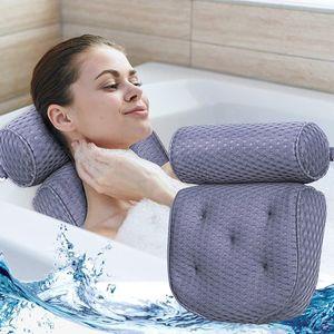Badewannenkissen, Nackenkissen, Luxus Badewanne & Spa-Kissen mit 4D-Air-Mesh-Technologie und 7 Saugnäpfen. Stützfunktion für Kopf, Rücken, Schulter, Nacken. Geeignet für Badewannen und Home Spa - Marineblau