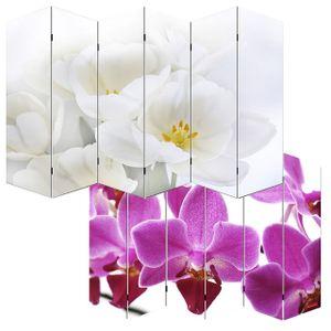 Foto-Paravent Paravent Raumteiler Trennwand M68  180x240cm, Orchidee