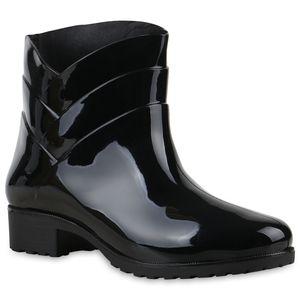 Mytrendshoe Damen Gummistiefel Profil Sohle Stiefel Regen Schuhe 812771, Farbe: Schwarz, Größe: 39