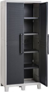 dobar 2-türiger Geräteschrank, Kunststoff-Schrank mit Standfüßen, 78 x 46 x 182 cm, Hellgrau/Anthrazit