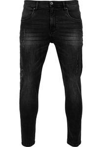 Urban Classics Skinny Ripped Stretch Denim Pants TB1606 black washed, Hosengröße:36