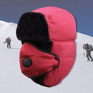 Trapper Hut mit Ohrenklappen +Gesichtsmasken winddicht Winter Skimütze Wintermütze Für Männer und Frauen Rot