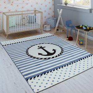 Kinderteppich Indigo Blau Trend Maritim Matrosen Design Gestreift 3D Kurzflor, Grösse:120x170 cm