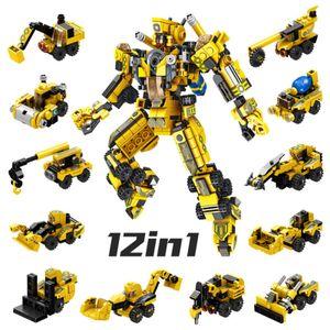 12-in-1 Roboter Baufahrzeuge Baustein Ziegel Spielzeug Feuerwehr Roboter Klemm Bausteine Superset Konstruktion als Kinder Geschenk