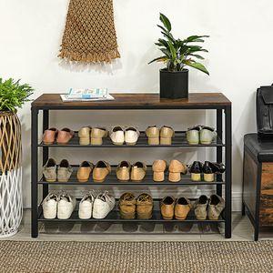 VASAGLE Schuhregal mit 3 Gitterablagen | Schuhablage einfacher Aufbau stabil Schuh-Organizer vintagebraun-schwarz LBS14BX