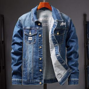 Herren Jeansjack Männer Trends Slim Stickerei Denim Jacke Größe 3XL, Farbe:Blue