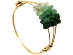 Damen Ring Vergoldet Smaragd Grün Ringgröße:58 (18.5)