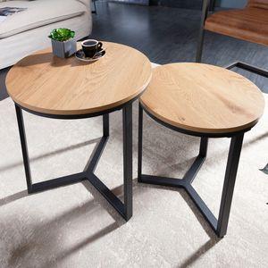 Design Beistelltisch 2er Set STUDIO 50cm Eichen-Optik Industrial Stil