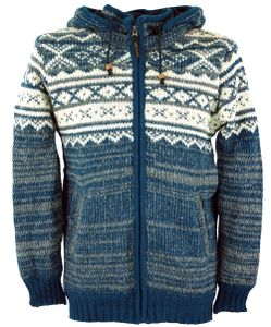 Strickjacke mit Norwegermuster, Wolljacke, Nepaljacke Blau - Modell 22, Herren, Wolle, Größe: S