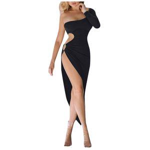 Mode Frauen sexy solide eine Schulter aushöhlen Schlitz Party Abendkleid aushöhlen Größe:M,Farbe:Schwarz