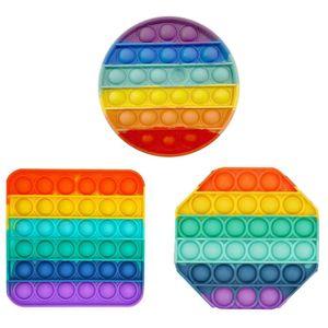 Sensory Fidget Toy in Regenbogenfarben, Push Pop Pop Bubble Toys Push Bubble Sensory Toy Stressabbau Sensory Toys Lernspielzeug für Kinder Rund