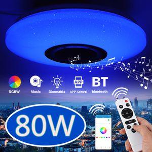 Meco 80W Dimmbare 114 LEDs bunt RGBW LED Deckenleuchte bluetooth Music Speaker Lamp APP-Steuerung mit Fernbedienung DE Lager
